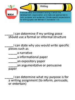 "Common Core 6th grade Writing Standards ""unpacked"", I can,and student friendly"