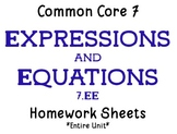 Common Core 7 Homeworks- Expressions & Equations (7.EE)- F