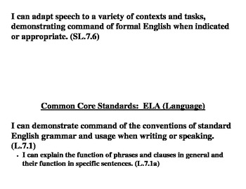 Common Core: 7th Grade ELA Standards