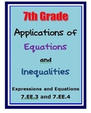 Common Core 7th Grade Math Activities Equations, Inequalities (7.EE.3, 7.EE.4)