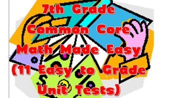 7th Grade Common Core Math Standards Test (Full Year/all s