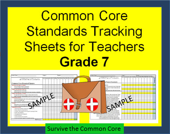 Tracking Sheets (EDITABLE) Common Core 7th Grade Math by Domain/Cluster/Standard