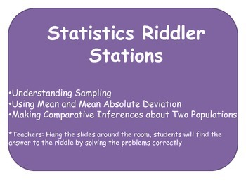 Common Core 7th Grade Riddle Statistics Stations