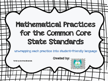 Common Core 8 Mathematical Practices Posters and Student Reference Cards