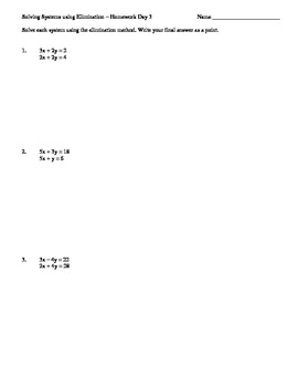 Common Core 8.EE.8b 3 Day Elimination Class work & Homework