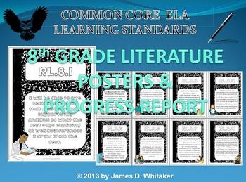 Common Core 8th Grade ELA Literature Posters & Progress Report