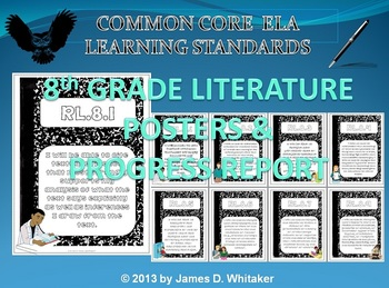 Common Core 8th Grade ELA Literature Posters & Progress Report