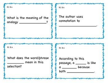 Common Core 8th Grade ELA Question Cards