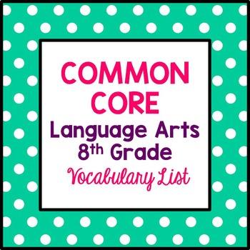 Common Core 8th Grade Language Arts Vocabulary List