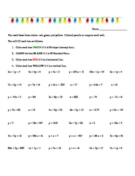Common Core 8th grade 8.F.3 Identify Equations, Christmas, vert/horiz/SF/slope-i