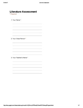 Common Core 9th and 10th Grade English Assessment: Literature Standards (2A)