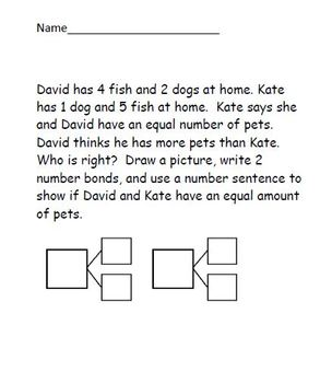 Common Core math first grade word problem set