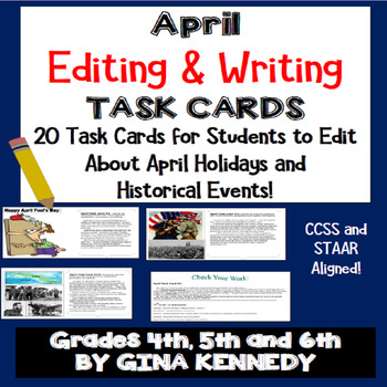 "April Themed ""Daily Editing"" Writing Task Cards, Fun Histo"