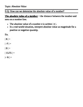 Common Core Absolute Value Cornell Notes