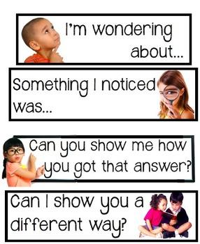 Common Core Academic Language Sentence Frames for Math