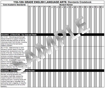 Common Core Academic Standards Gradebook 11th-12th Grades English/Language Arts