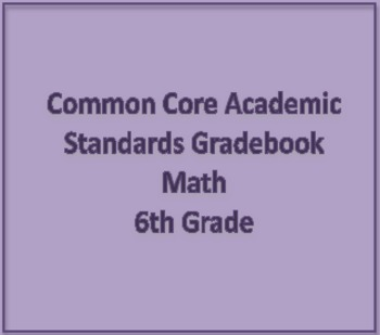 Common Core Academic Standards Gradebook 6th Grade Math