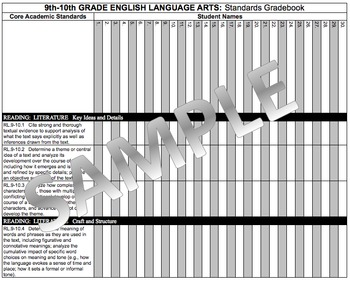 Common Core Academic Standards Gradebook 9th-10th Grades English/Language Arts