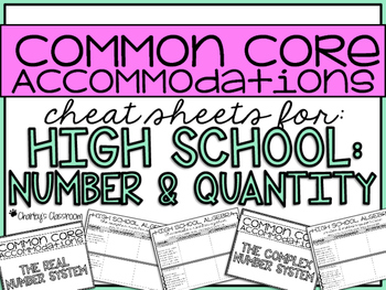 Common Core Accommodations *Cheat Sheets* {High School Number & Quantity}