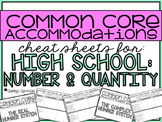 Common Core Accommodations *Cheat Sheets* {High School Num