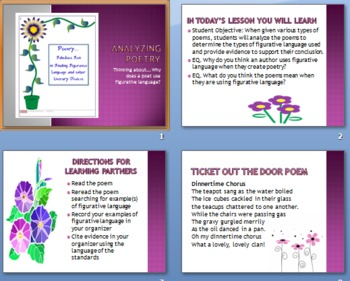 Common Core Activity:  Analyzing Poetry for Figurative Language PowerPoint