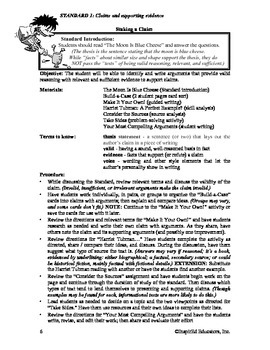 Common Core Activity Pack #1 Gr. 6-12- Anchor Writing (supporting claims)