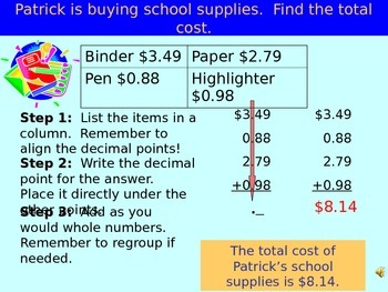 Common Core Add Decimals PowerPoint