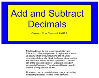Common Core Add and Subtract Decimals