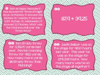 Common Core Add/Sub Decimals Task Cards