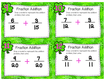 Common Core Adding Fractions & Mixed Numbers Task Cards