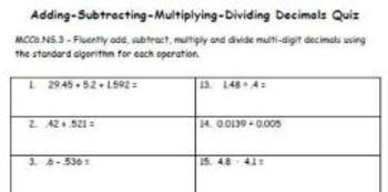 Common Core - Adding Subtracting Multiplying Dividing Decimals Quiz