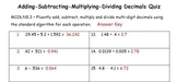 Common Core - Adding Subtracting Multiplying Dividing Deci