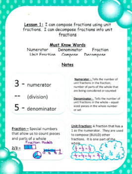 Common Core Adding and Subtracting Fractions and Mixed Numbers Interactive Notes