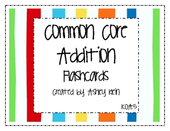 Common Core Addition Flashcards K.OA.5