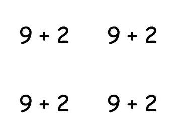 Common Core Addition Flashcards - adding nine