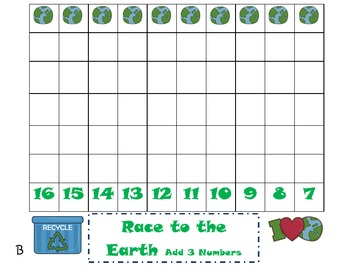 Common Core Addition Game-adding 3 numbers (1.OA6) Earth Day Themed