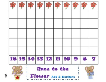Common Core Addition Game-adding 3 numbers (1.OA6) May Themed