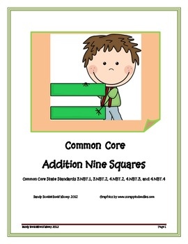 Common Core Addition Nine Squares