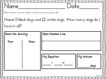 Common Core Addition & Subtraction Word Problems Sums to 100 2.OA.A.1