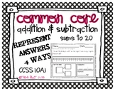 Common Core Addition & Subtraction Word Problems Sums to 20 1.OA.1