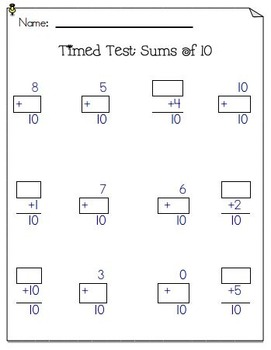 Common Core Addition Timed Tests