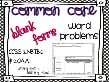 Common Core Addition & Subtraction Word Problems to 100 {BLANK VERSION}