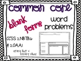 Common Core Addition & Subtraction Word Problems to 100 {B