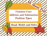 Common Core Addition and Subtraction Story Problems for Fall