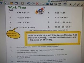 Common Core Addition of Decimals