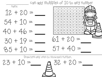 Common Core Addition to 100 without regrouping Projectable Lessons