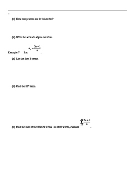 Common Core Algebra 2 Sequence and Series Note Packet