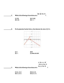 Common Core Algebra 2 Unit Assessment Linera Functions