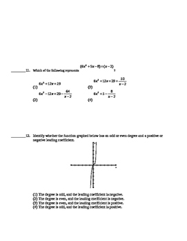 Common Core Algebra 2 Unit Assessment Polynomial Functions