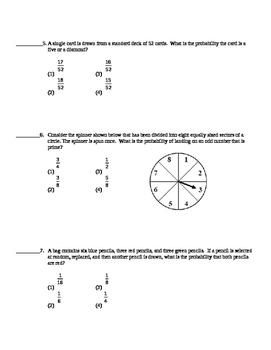 Common Core Algebra 2 Unit Assessment Probability